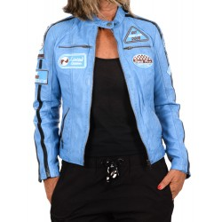 Blue Leather Jacket Ulrika GEROME