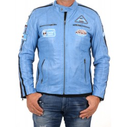Blue Leather Jacket Ulrika Men GEROME