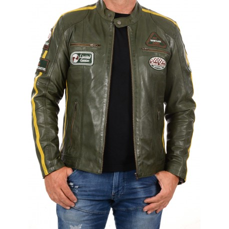 Green Leather Jacket Ulrika Men GEROME