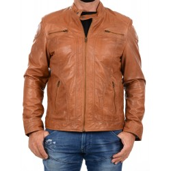 Brown leather Jacket AM-120 GEROME
