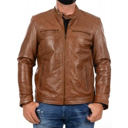 Brown leather Jacket AM-130 GEROME