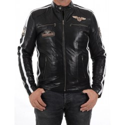 Veste en cuir noir Boston Men GEROME