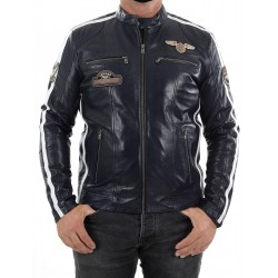 Blue Leather Jacket Boston Men GEROME