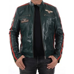 Veste en cuir vert Boston men GEROME