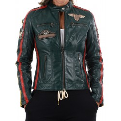 Green Leather Jacket Boston GEROME
