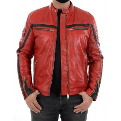 Veste en cuir rouge Relli Men GEROME
