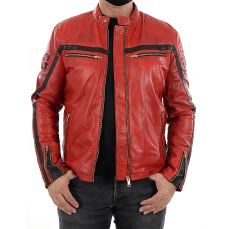 Black Leather Jacket Boston Men GEROME
