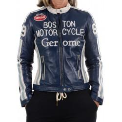 Cazadora de piel azul Boston1966 GEROME