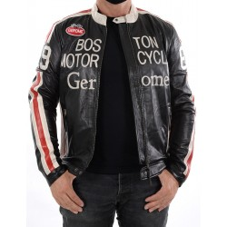 Black Leather Jacket Boston1966 Men GEROME