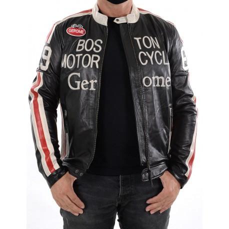 Black Leather Jacket Boston Men GEROME