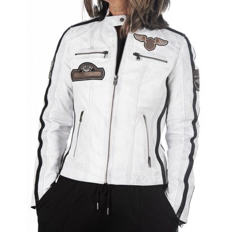 White Leather Jacket Boston GEROME