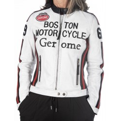 Cazadora de piel blanco Boston1966 GEROME