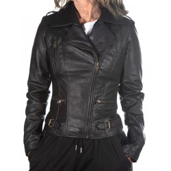 Black Leather Jacket Rehana GEROME