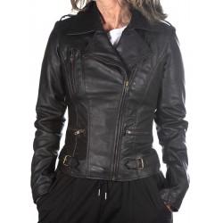 Veste en cuir noire Rehana GEROME