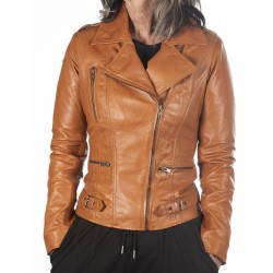 Cognac Leather Jacket Rehana GEROME