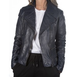 Blue Leather Jacket Rehana GEROME