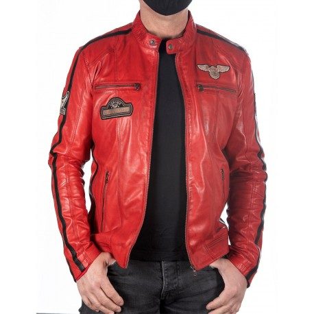 Veste en cuir rouge Boston Men GEROME