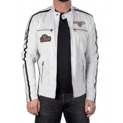 White Leather Jacket Boston Men GEROME