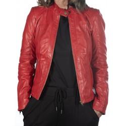 Veste en cuir rouge AM-108 GEROME