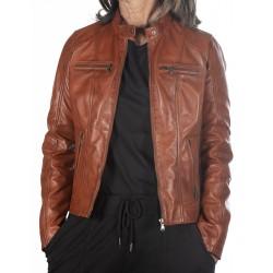 Cognac Leather Jacket Marta GEROME