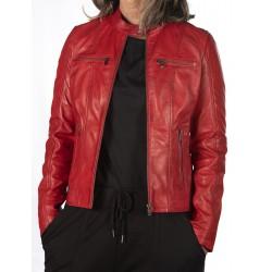Cazadora de piel Rojo Marta Gerome