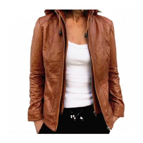 Brown leather jacket 779 GEROME