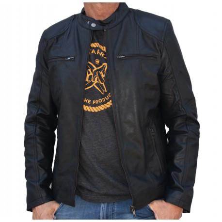Black Leather Jacket Quim GEROME