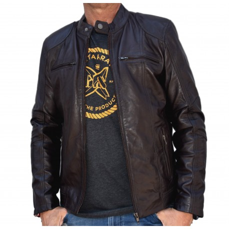 Brown Leather Jacket Quim GEROME