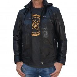 Veste en cuir noire Mela-2 Gerome