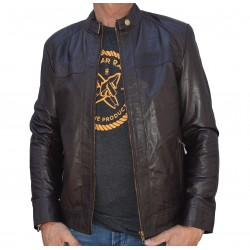 Brown leather jacket Loyahu Gerome