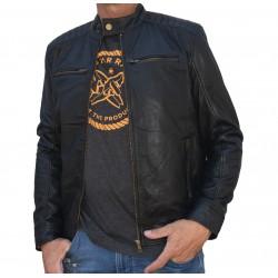 Veste en cuir noire AM-161 Gerome