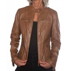 Cognac Leather Jacket Cristina Gerome