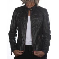 Cazadora de piel Negro Cristina Gerome