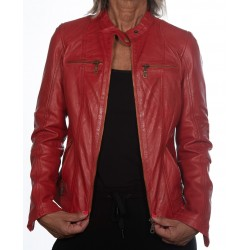 Red Leather Jacket Cristina Gerome