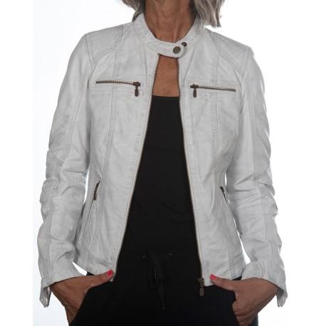 Veste en cuir blanc Cristina Gerome