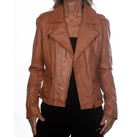 Cazadora de piel marrón Rehana GEROME