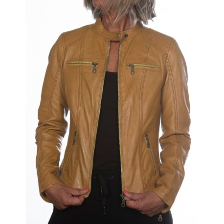 Yellow Leather Jacket Cristina Gerome