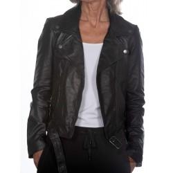Black Leather Jacket Cristina Gerome
