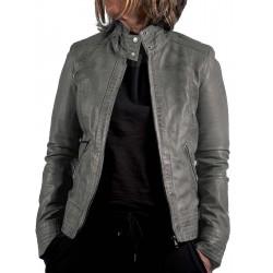 Grey leather jacket Teresa GEROME