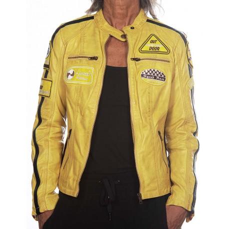 Cazadora de piel Gerome Ulrika amarillo