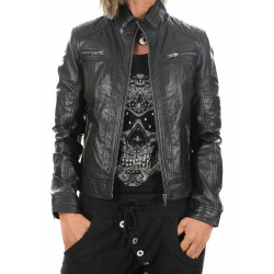 Black Leather Jacket Claudia Gerome