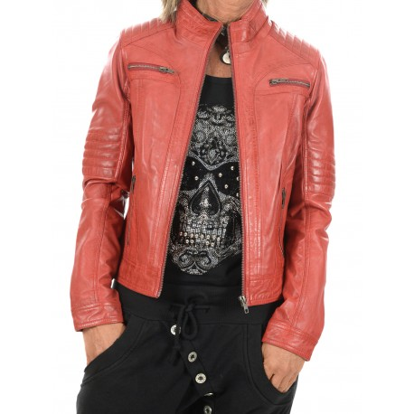 Red Leather Jacket Claudia Gerome