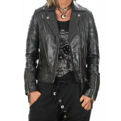 Black Leather Jacket Rosa Gerome