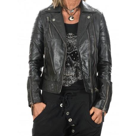 Black Leather Jacket Rosa Gerome