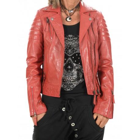 Cazadora de piel Rojo Rosa Gerome