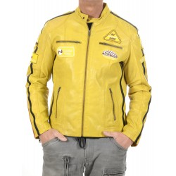 Yellow Leather Jacket Ulrika Men GEROME