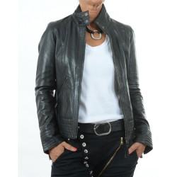 Veste en cuir noire Teresa GEROME
