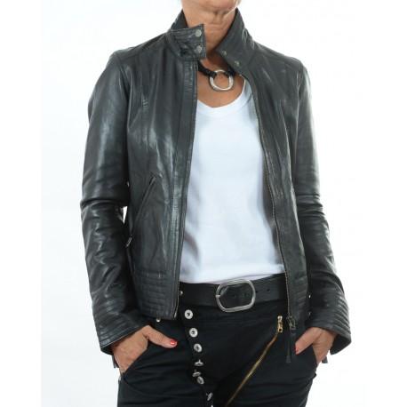 Cazadora de piel Negro Teresa GEROME