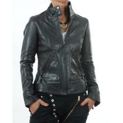 Black leather jacket Teresa GEROME