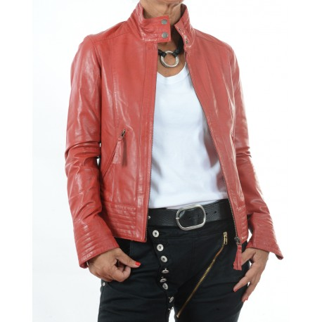 Cazadora de piel Rojo Teresa GEROME